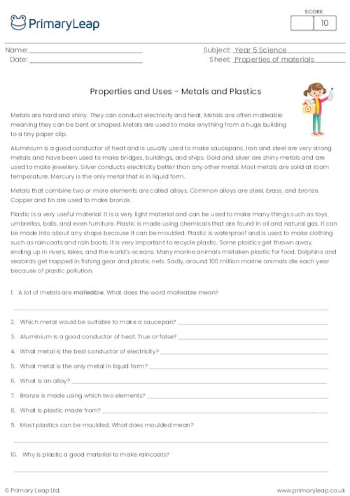 Properties and Uses - Metals and Plastics