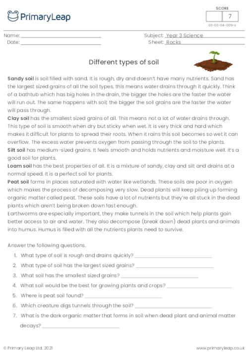 Reading comprehension - Types of soil