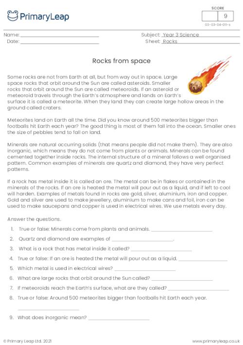 Reading comprehension - Rocks from Space