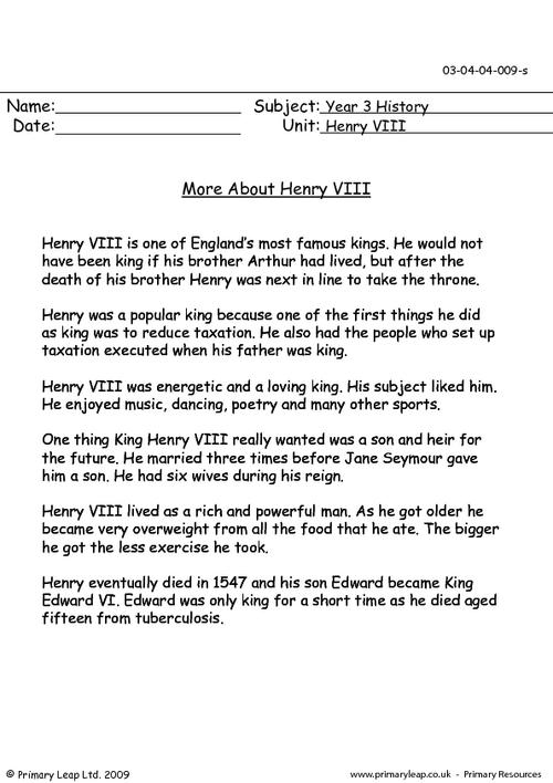 More about Henry VIII