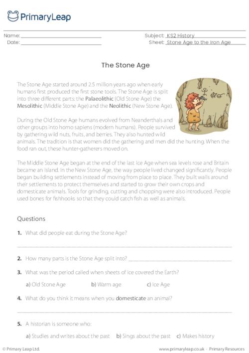 History: Reading Comprehension The Stone Age Worksheet PrimaryLeap.co.uk