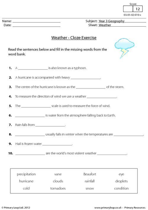 Weather - Cloze activity