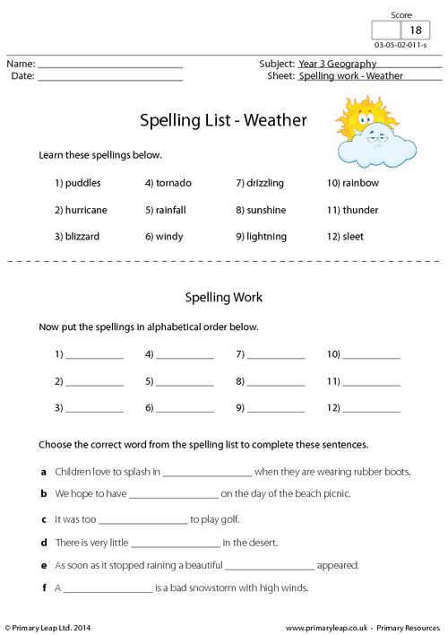 Spelling List - Weather