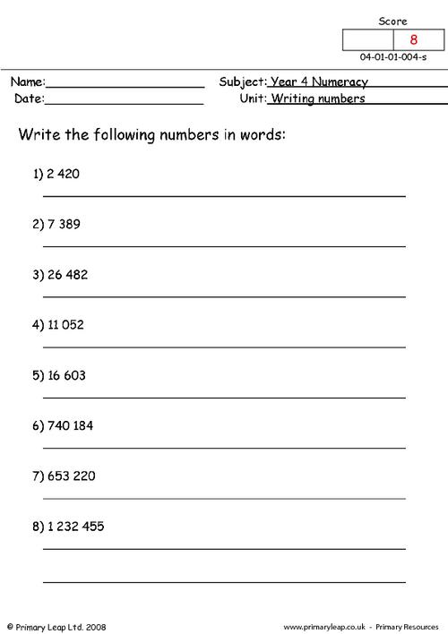 Writing numbers 4