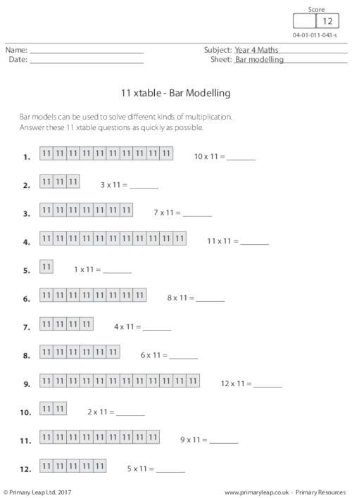Bar Modelling - 11 xtable
