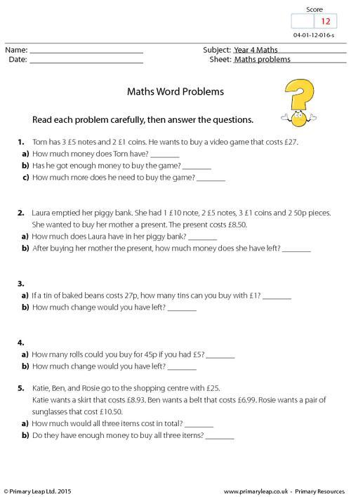 Maths word problems