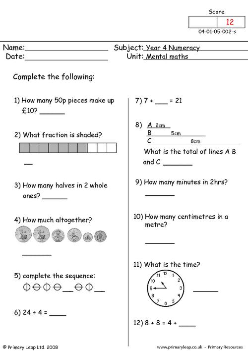 Year 4: Numeracy Printable Resources & Free Worksheets For Kids  PrimaryLeap.co.uk