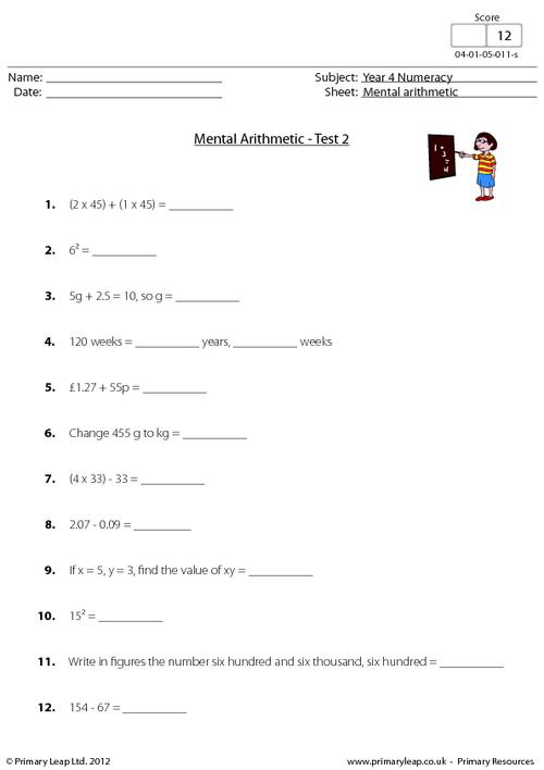 Mental arithmetic - Test 2