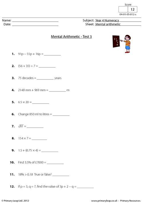 Mental arithmetic - Test 3