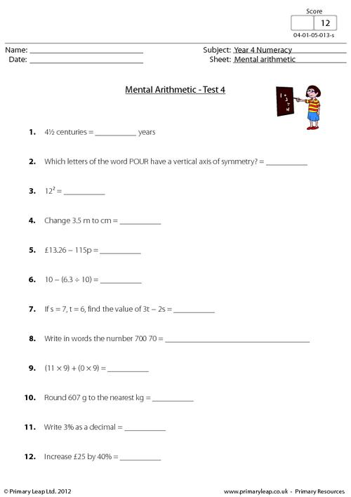 Mental arithmetic - Test 4