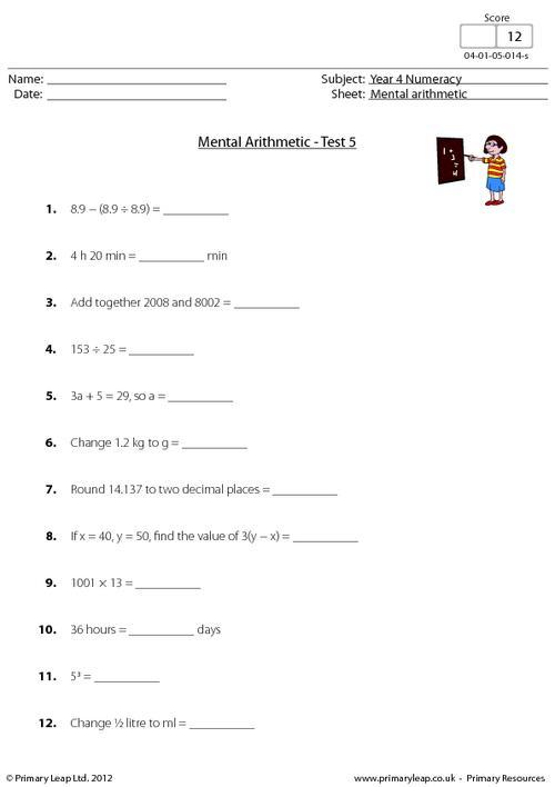 Mental arithmetic - Test 5