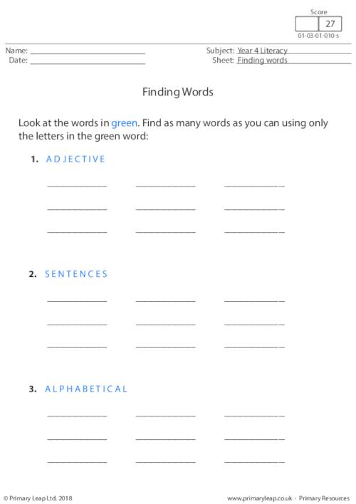 Finding words 1
