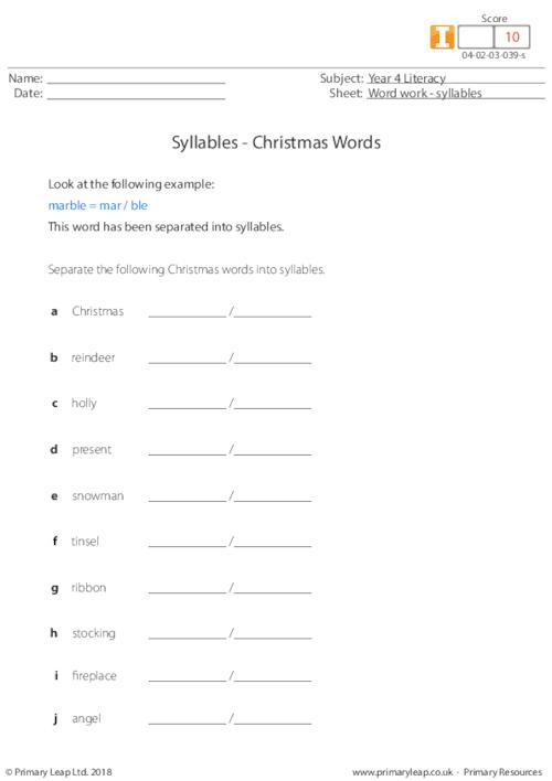Syllables - Christmas words