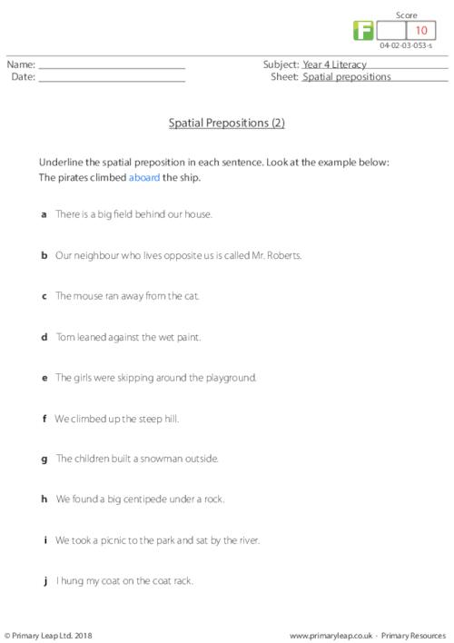 Spatial prepositions (2)