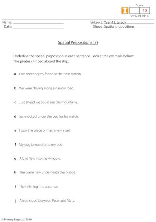 Spatial prepositions (3)