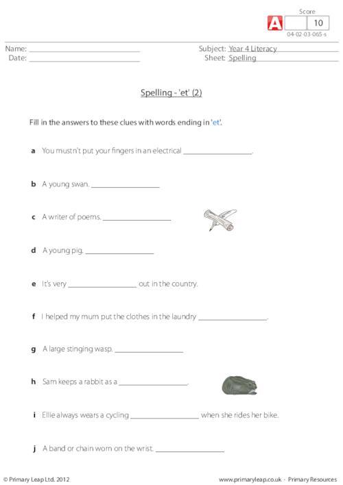 Spelling - 'et' 2