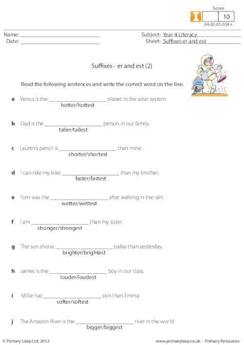 Suffixes - er and est (2)