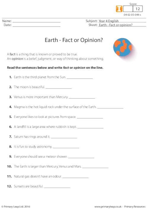 Earth - Fact or Opinion?
