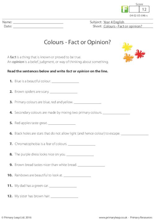 Colours - Fact or Opinion?