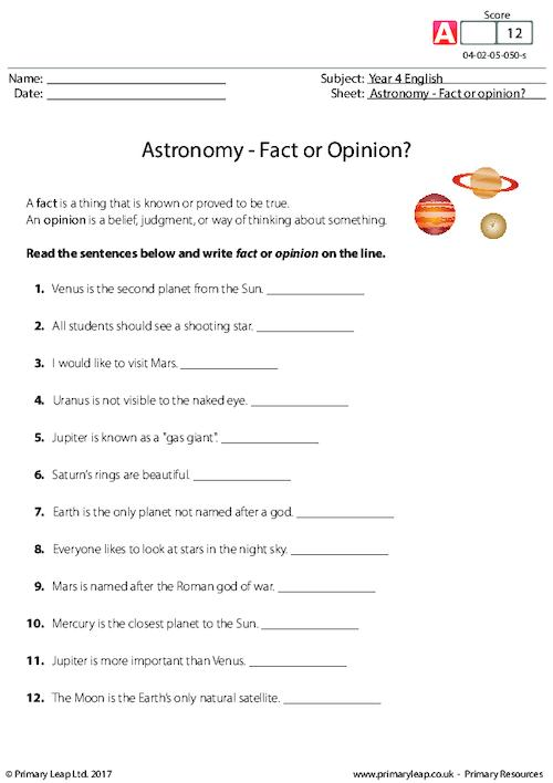 Astronomy - Fact or Opinion?