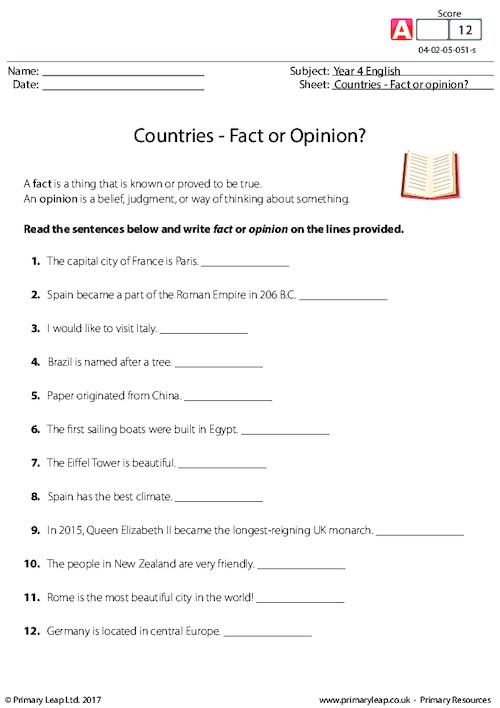 Countries - Fact or Opinion?