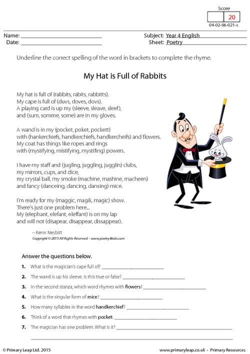 Comprehension - My Hat is Full of Rabbits