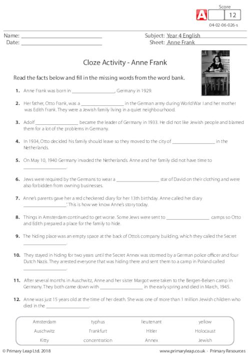 Cloze Activity - Anne Frank
