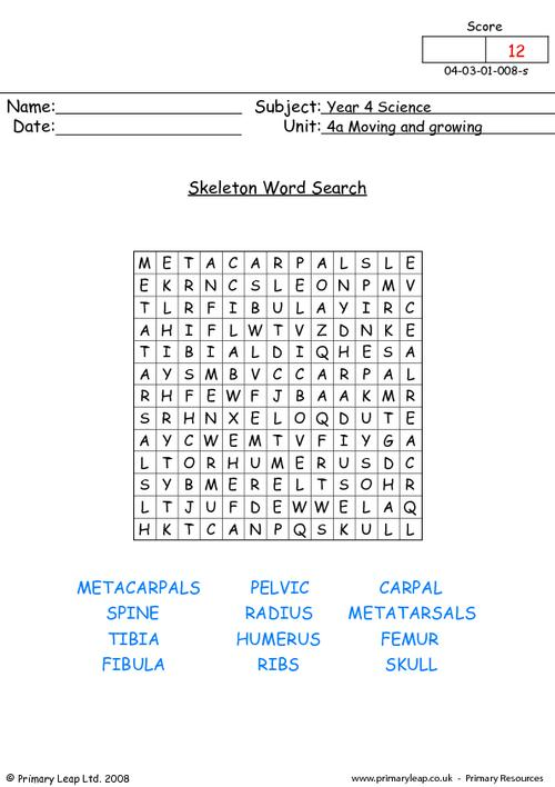 Skeleton word search