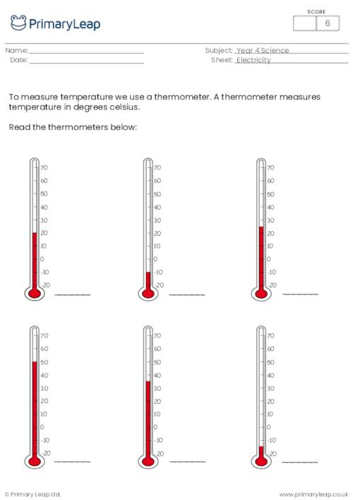 Science: Thermometer Worksheet PrimaryLeap.co.uk