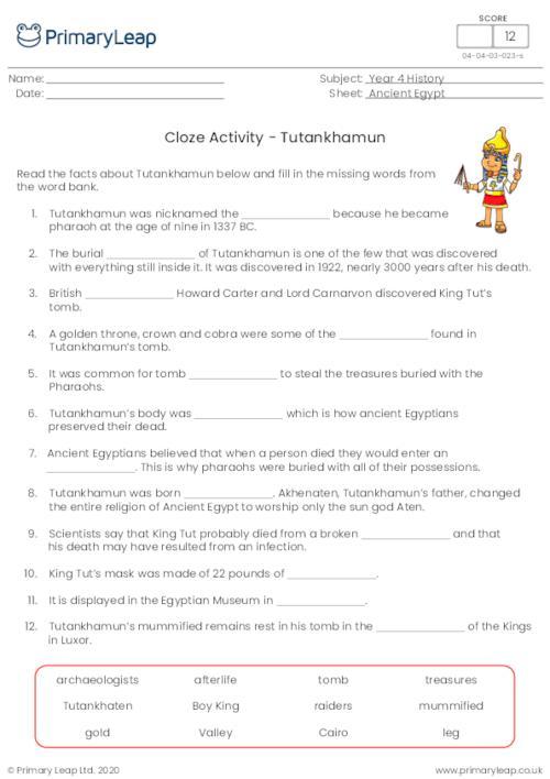 Cloze Activity - Tutankhamun