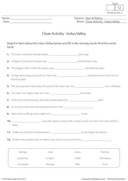 Cloze Activity - Indus Valley