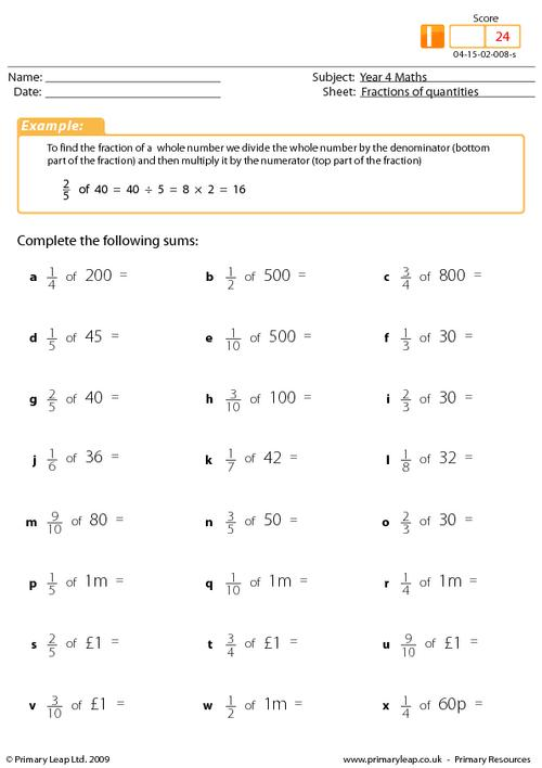 Fractions of quantities