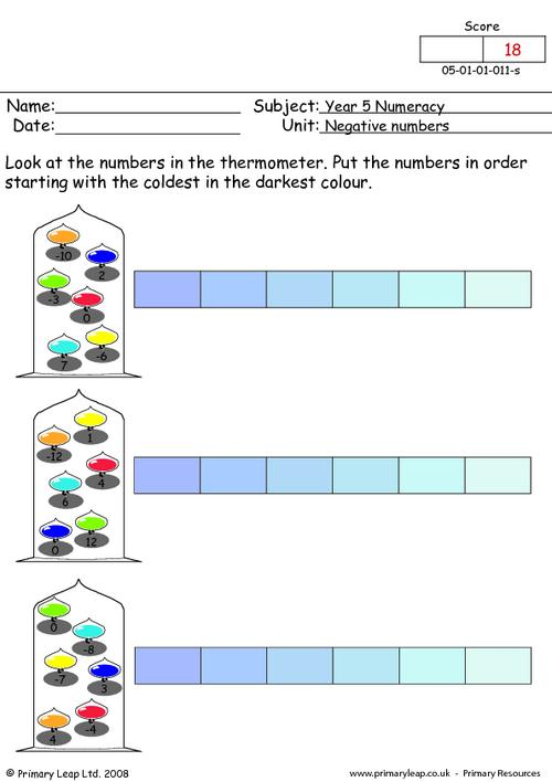 Negative numbers 1