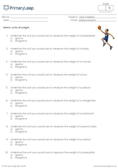 Metric units of weight