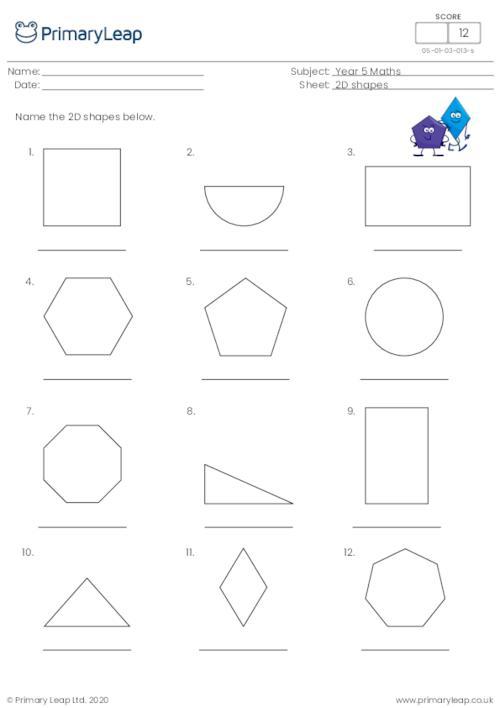 Naming 2D shapes