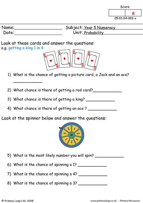 numeracy probability 2  worksheet  primaryleapcouk