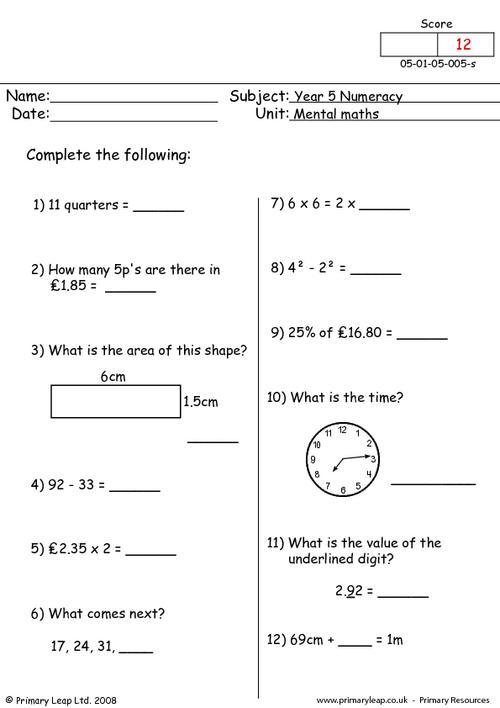 Mental maths 5