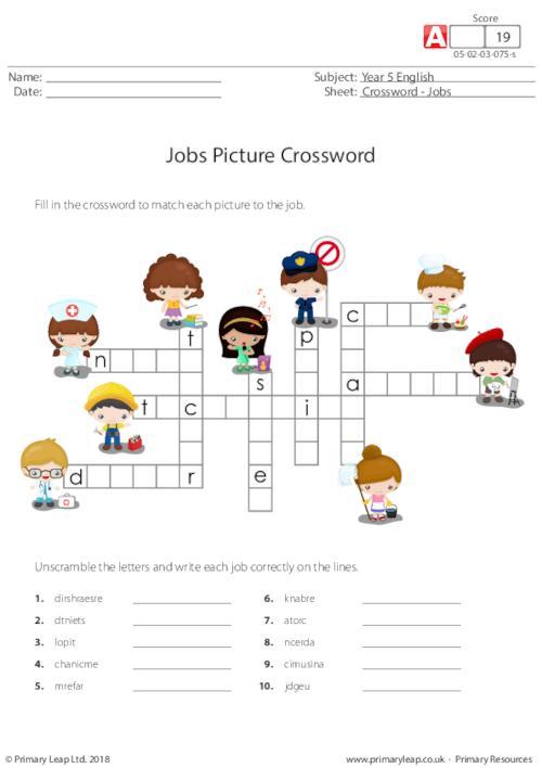 Jobs Picture Crossword