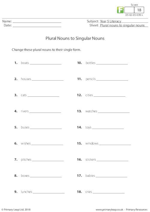 Plural nouns to singular nouns