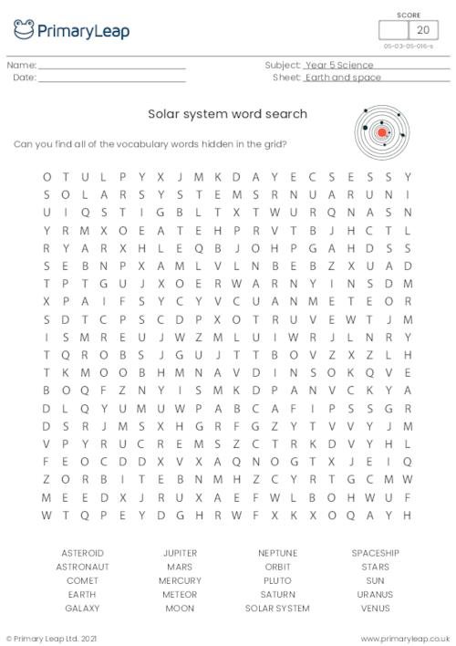 Solar System - Word Search