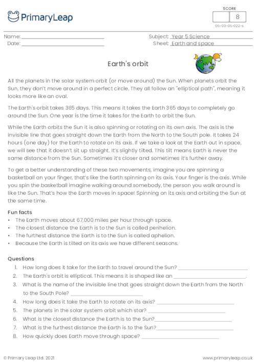Reading comprehension - Earth's Orbit