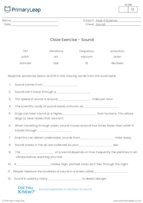 Cloze Exercise - Sound