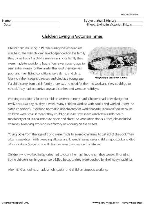 Children Living In Victorian Times