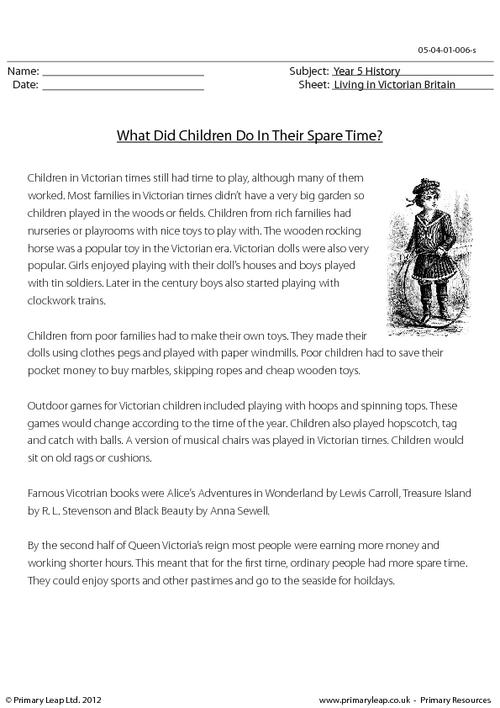 What Did Children Do In Their Spare Time?