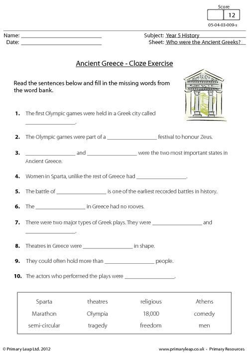 Ancient Greece - Cloze activity