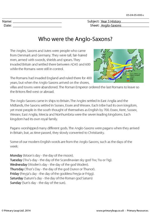 Who were the Anglo-Saxons? Information sheet