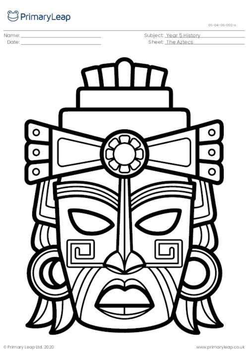 Colouring page - Aztec mask