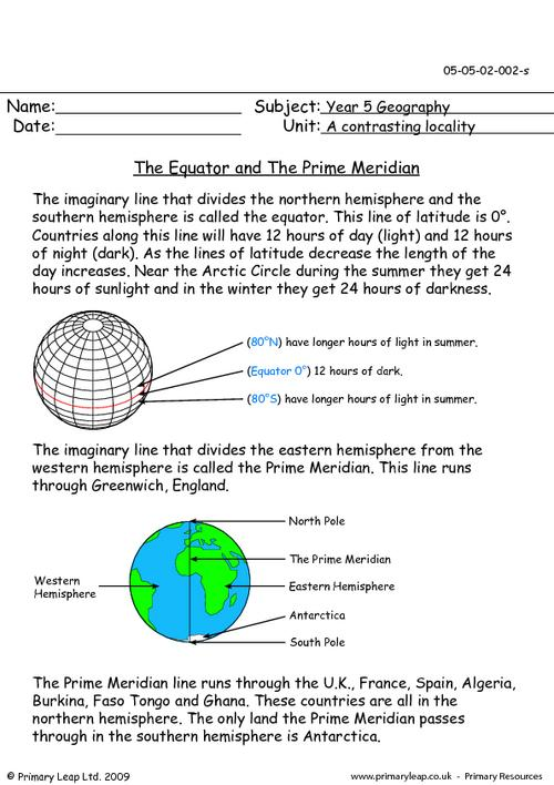 The Equator and The Prime Meridian