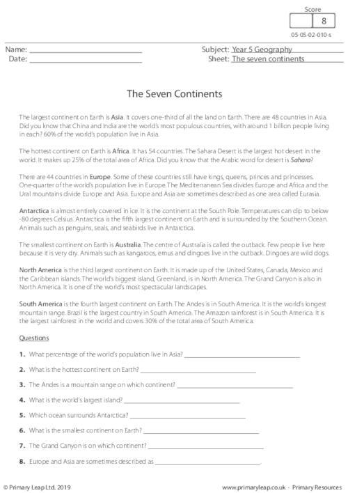 Reading comprehension - The Seven Continents