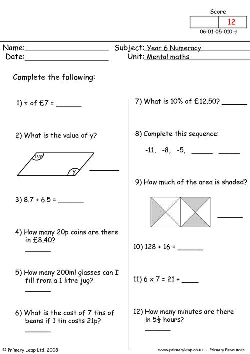 Mental maths 10